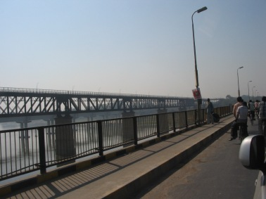 Crossing the Ganga to enter the city