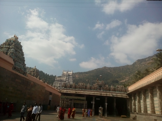 View of Arunachala Swamy temple of the left, Unnamalai Amman on the right, and the Annamalai mountains as the backdrop