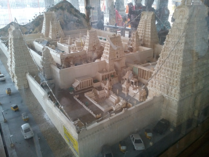 Life-like model of the temple complex at display within the premises