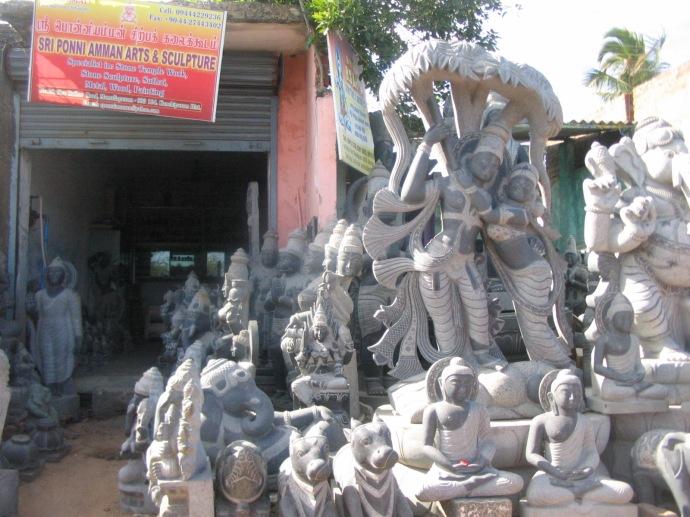 various religious idols in stone